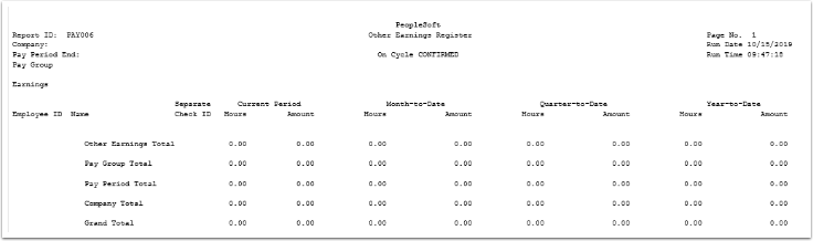 Other Earnings Register report