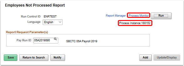 Employees Not Processed Report page select process monitor