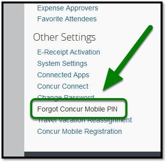 Under Other Settings, select Forgot Concur Mobile PIN.