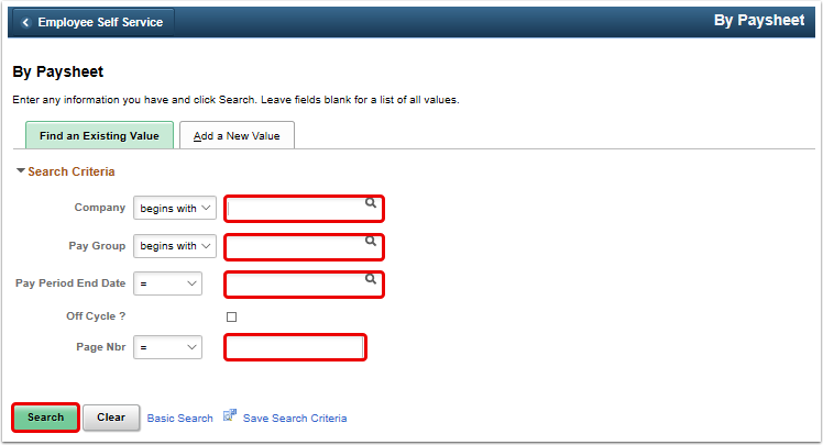 By Paysheet search page