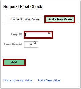 request final check search page add a new value