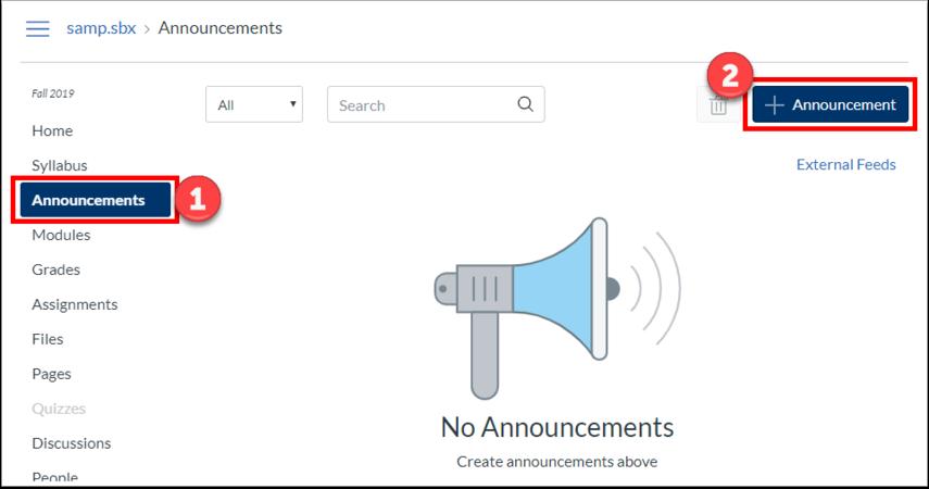 """Click """"Announcements, then click """"+Announcement"""""""