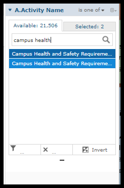 Search results for course under Activity Name filter