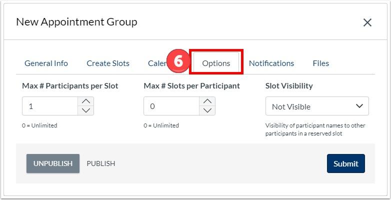 Set maximum users per slots, maximum slots per user, and slot visibility.