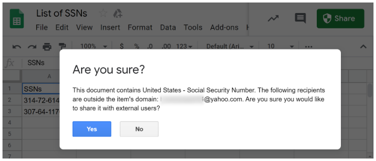 Depicts Google's warning message to notify user of PII being shared