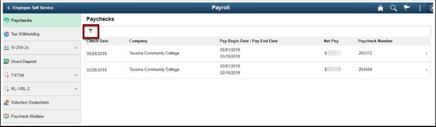 Paychecks page
