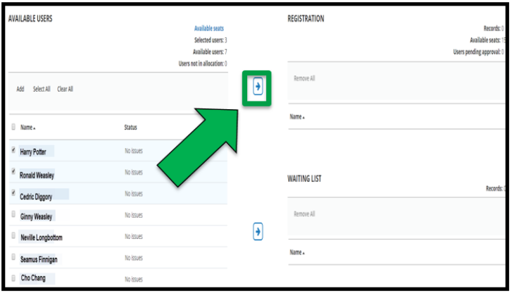 This shows how to send over select users to Registration. The first 3 user's squares are check marked. There is a green arrow pointing to the top Arrow button. The arrow button points towards Registration.