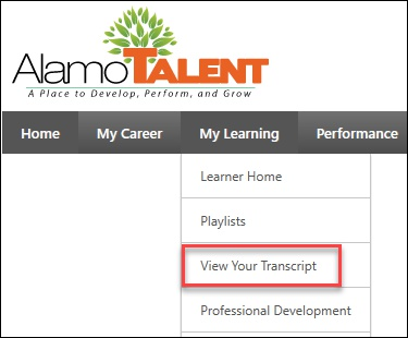 On My Learning, select View your Transcript