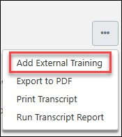 From the ... button, select Add External Training