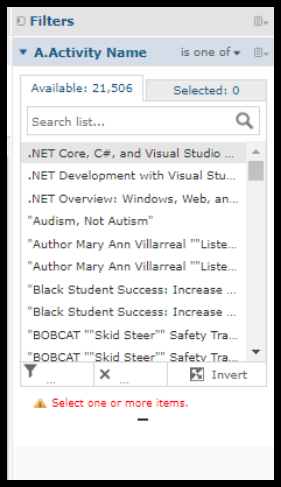 List of available courses in activity name window