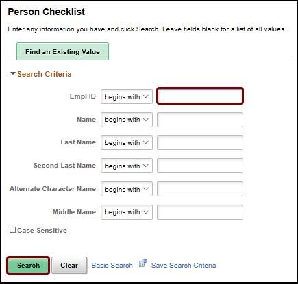 person checklist search page