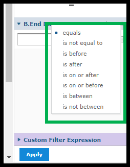 Green box outlining time frame options