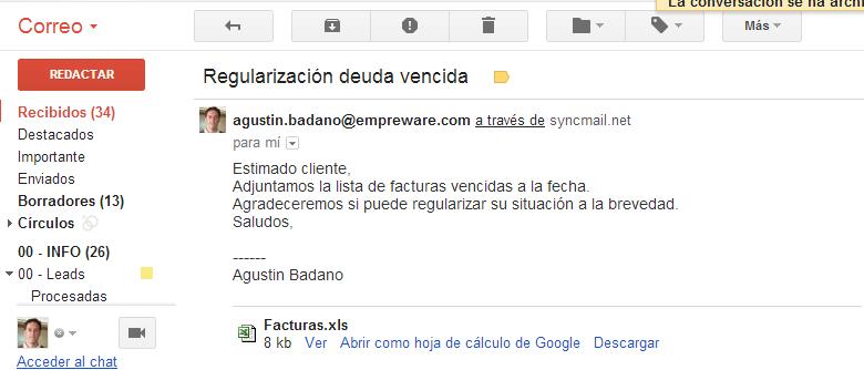 a) Se envía el email al cliente.