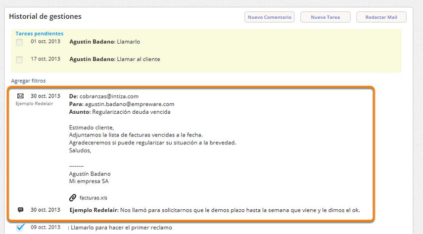 b) Se registra el email en el historial de gestiones del cliente.