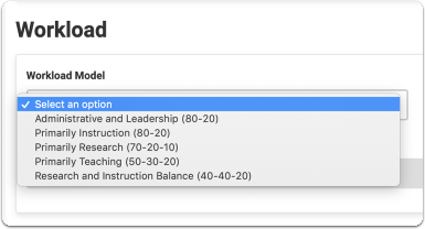Select a Workload Model from the drop down list