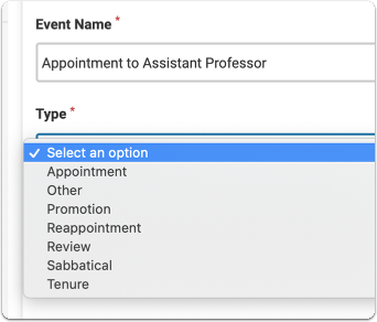 Select the event type from the drop down list