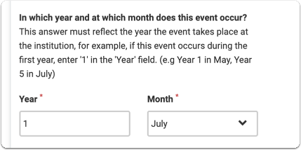 Indicate the year and select the month from the drop down list.