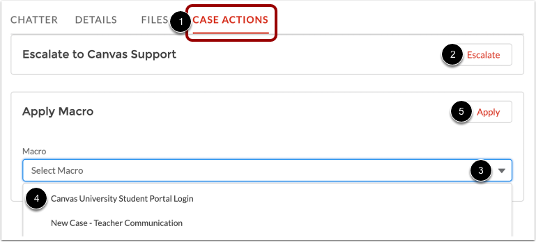 View Case Actions Tab