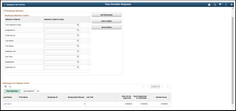 Employee selection criteria screen