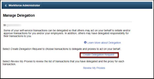 Manage Delegation page