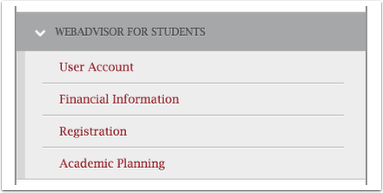 webadvisor menu detail