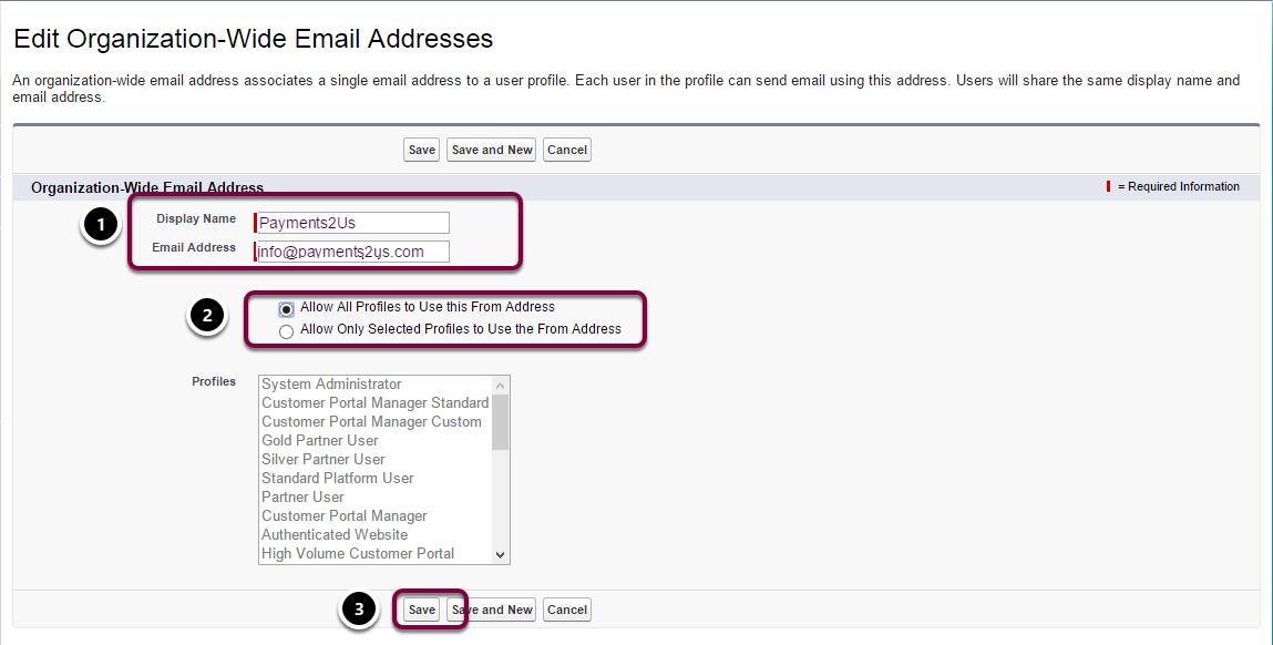 Enter email address names and details