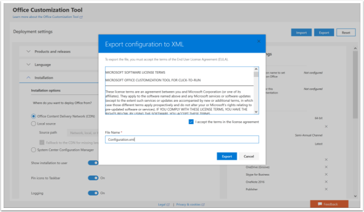 Create Configuration.xml file using the Office Customization Tool