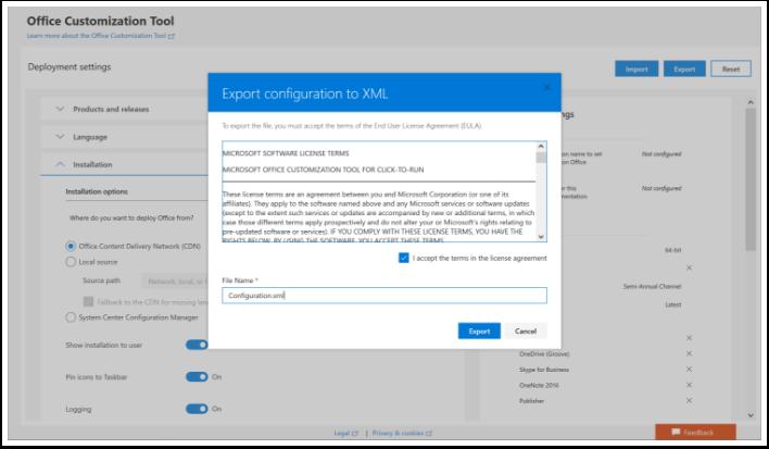 Create Configuration.xml file using the Office Customization Tool