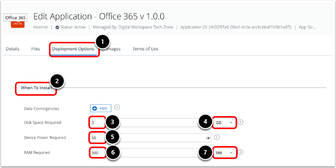 Configure the Deployment settings for Office 365