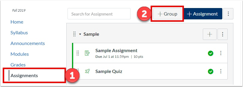 "Click ""Assignments"", then click ""+Group"""