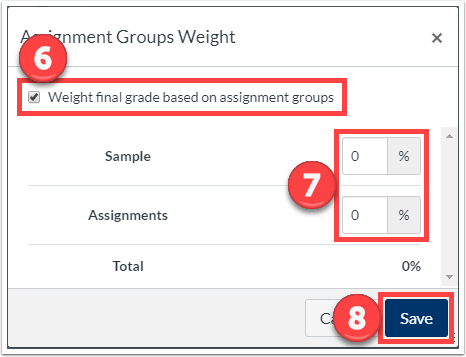 "Check the ""Weight final grade based on assignment groups"", enter the percentage weight, and click ""Save""."