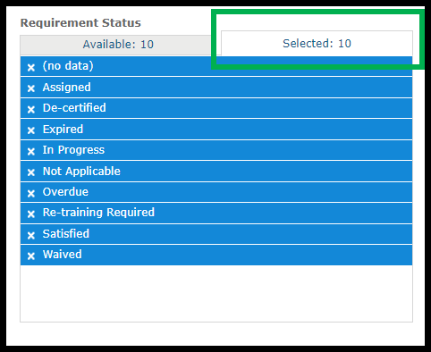 Box outlining Selected tab
