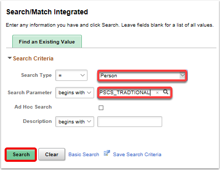 Search/Match Integrated search page