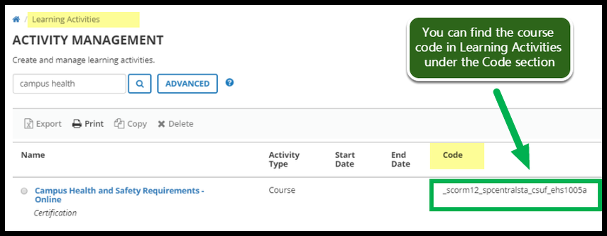 Image showing course code in Learning Activities