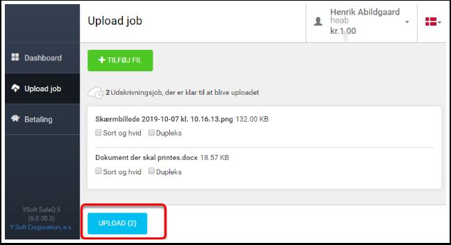 Upload job – Google Chrome