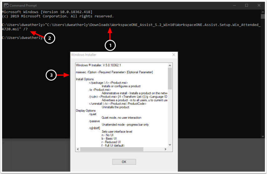 MSI exec command line options