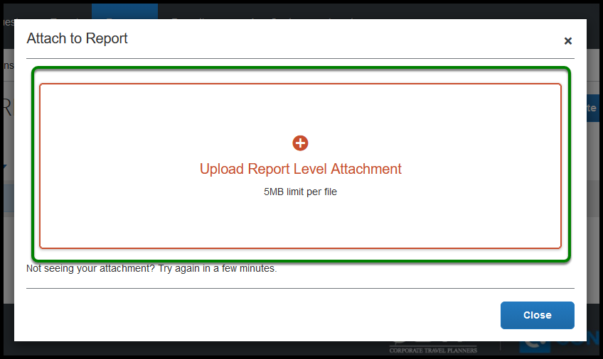Green box highlighting over Upload Report Level Attachment.