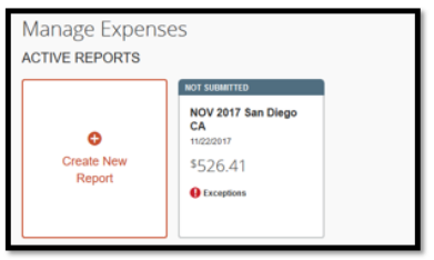 Under Manage Expenses, there is an option to click on Create New Report and click on a report that is not submitted.