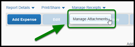 Green arrow pointing to Manage Attachments under Manage Receipts dropdown.