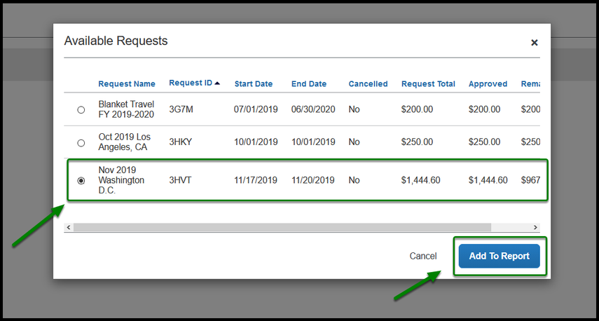 Highlighted box showing selected travel request and green arrow on bottom right indicating how to add it.