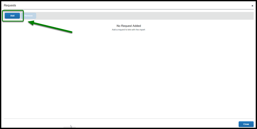 Arrow pointing to Add button which allows linking of expense report to travel request.
