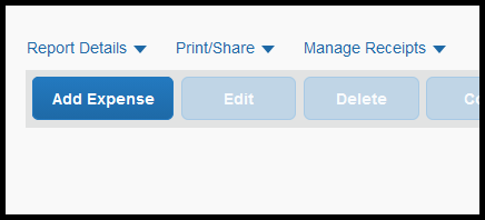New Expense tab which has opened up to select type of expense to input.