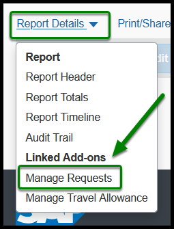 Arrow pointing towards Details tab which opens up dropdown menu. Dropdown menu includes Report Header option.