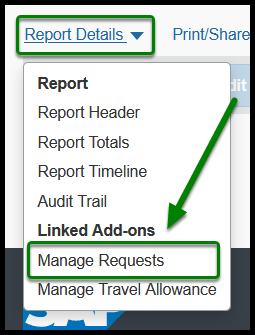 Report Details tab with dropdown menu for Manage Requests option.