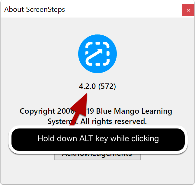 ScreenSteps About window