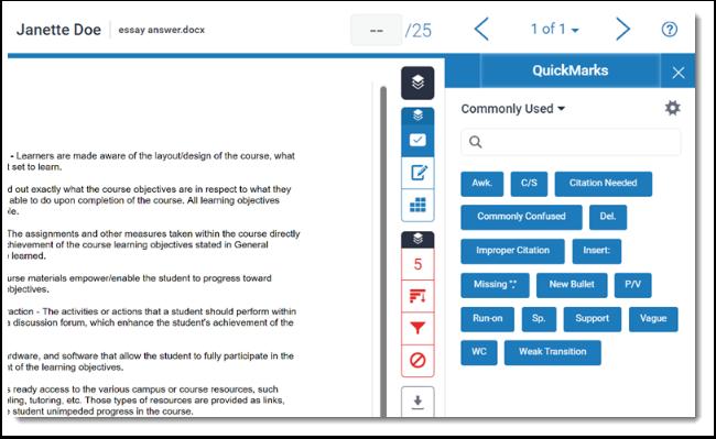 Quickmarks panel