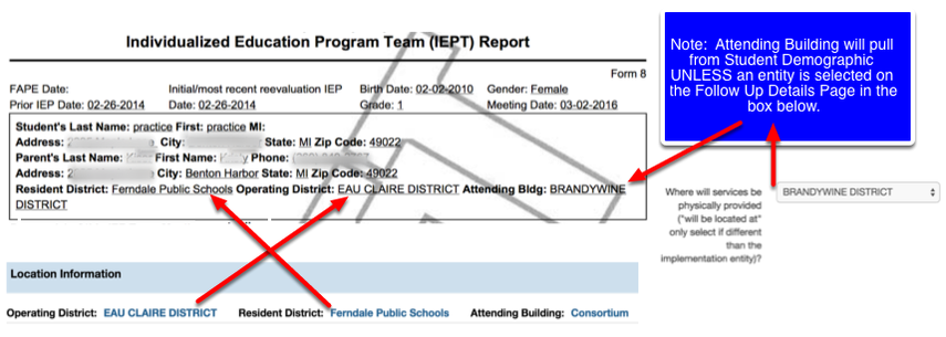 Where the Student Demographic Information Shows up on the Follow Up Details Page IEP PDF
