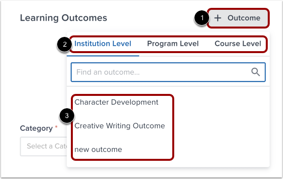 Add Learning Outcomes
