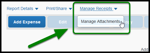 Dropdown menu under Manage Receipts link. Arrow pointing towards Manage Attachments option.