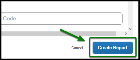 Green arrow pointing towards the Create Report button.